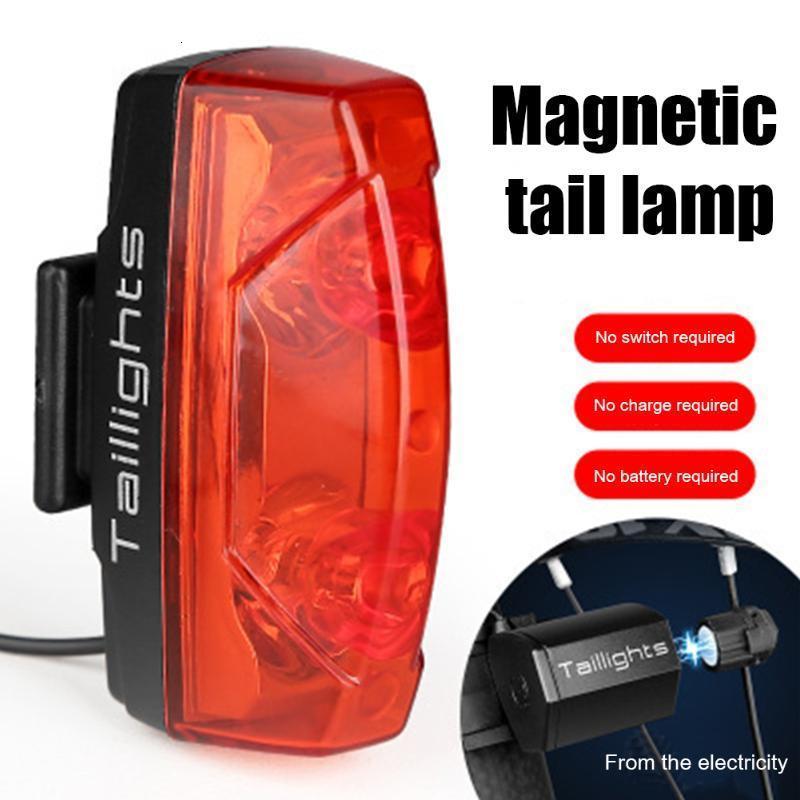 Bicicleta taillight indução magnética mountain bike cycling cauda luz traseira noite segurança lâmpada de aviso mtb luzes traseiras