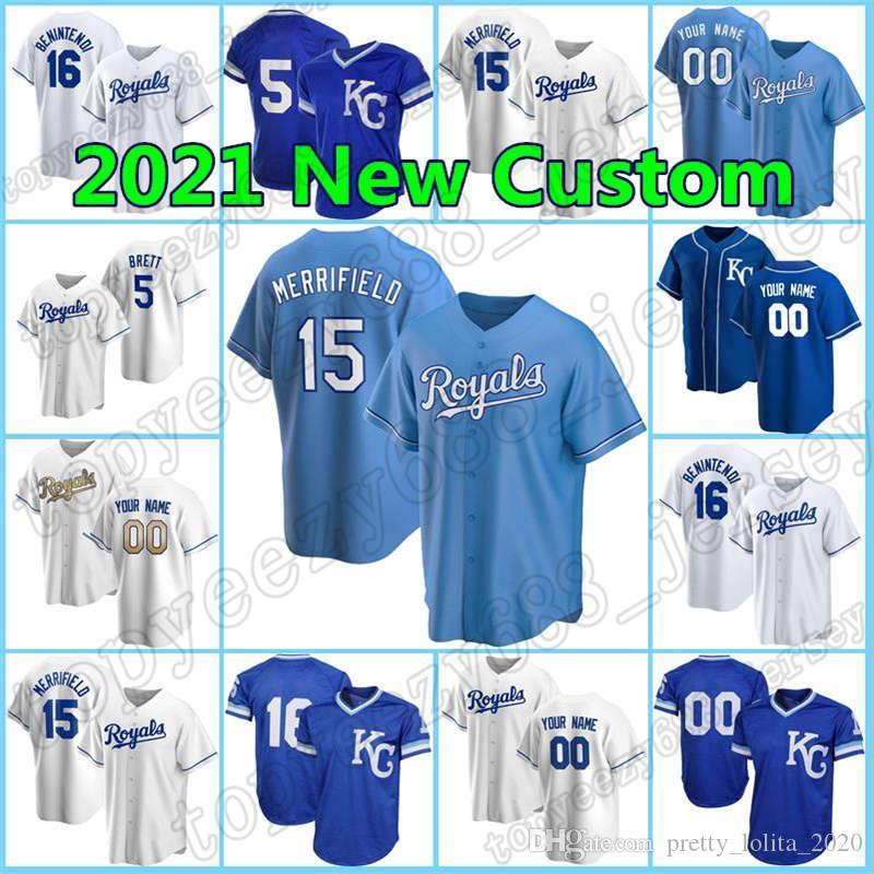 15 Whit Merrifield Kansas 16 Andrew Benintendi City personalizado Baseball 41 Carlos Santana 1 Nicky Lopez Hunter Dozier George Brett Royals Jersey