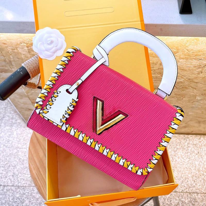 Designer Frauen Umhängetaschen Brief HASP Kontrastfarbe Handtaschen Gute Qualität Stilvolle Twisted Kette Taschen 9 Farben gefaltete Griffbeutel