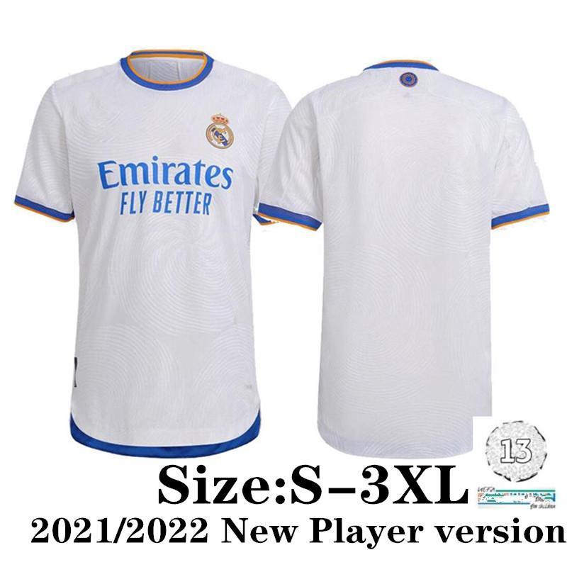 Size: S-XXXL لاعب نسخة ريال مدريد mbappe لكرة القدم الفانيلة 2021 المنزل homeRACE كرة القدم قميص خطر Sergio Ramos Benzema Asensio Camiseta الرجال
