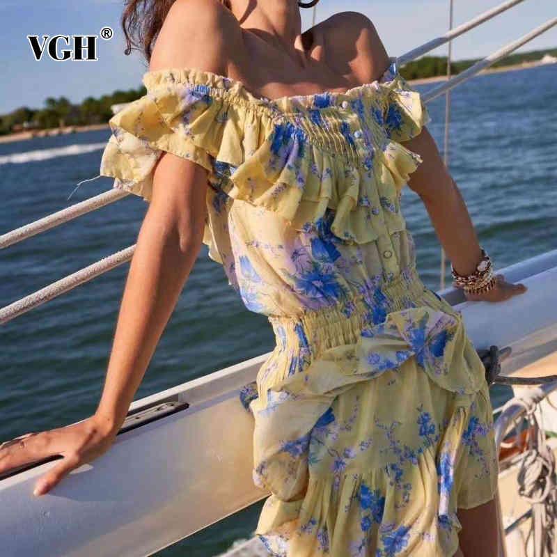 VGH Sarı Baskı Elbise Kadınlar Için Kare Yaka Kısa Kollu Yüksek Bel Patchwork Fırfır Mini Vintage Elbiseler Kadın Moda 210421