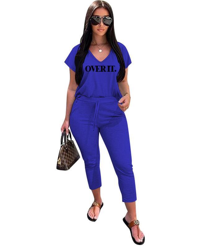 Брюки рубашки установлены вскользь два частя наборы на него письмо напечатанные брюки ежедневные наряды T женщин летние трексуиты