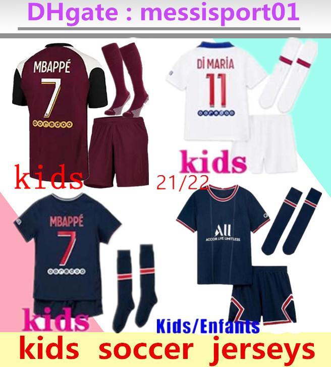 Kinder 2021 2022 MBAPPE PARIS Fussball Jerseys 3RD 4HT KITS 21/22 MAILLOT ICARDI Jungen Full Set Uniform Football Shirt