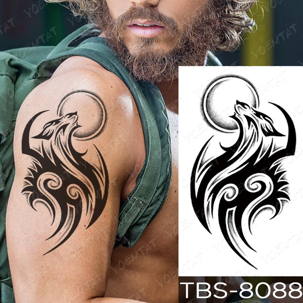 Su geçirmez Geçici Dövme Etiket Ejderha Akrep Kurt Flaş Dövmeler Kanatları Çapraz Vücut Sanatı Kol Baykuş Maori Totem Sahte Dövme Erkekler