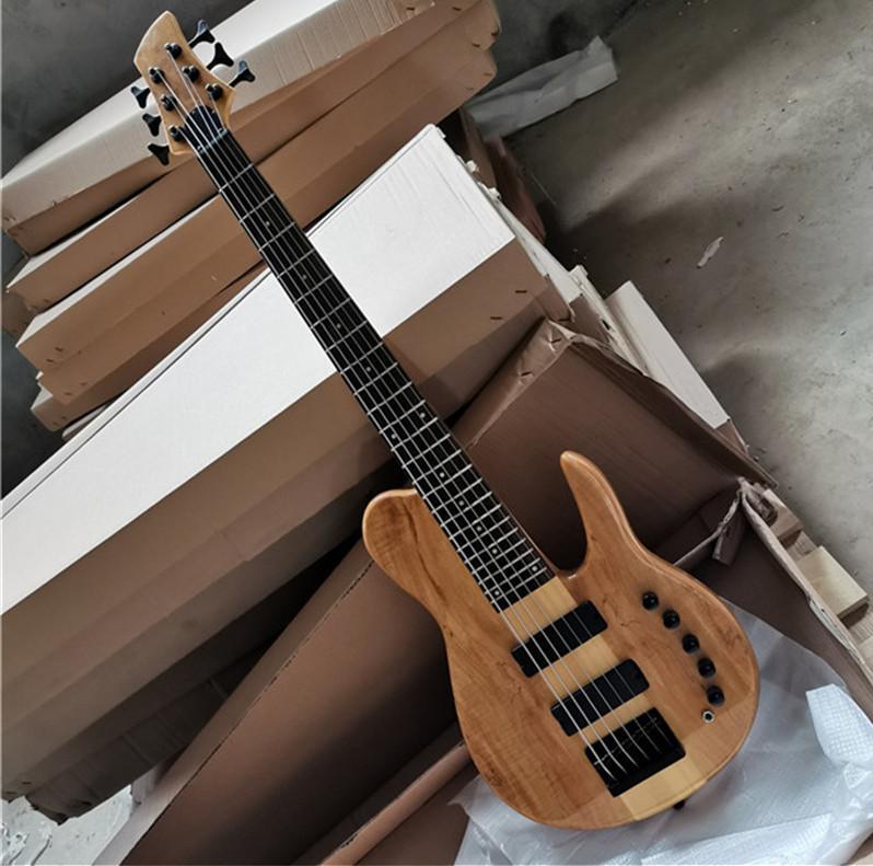 6 corde Original Neck-Thru-Body Bass Chitarra con tastiera in palissandro, hardware nero, modello di burlone albero, offerta Personalizza