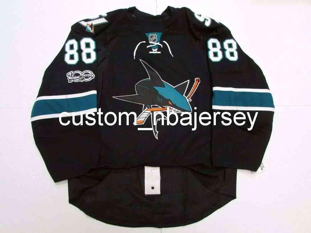 Ricamo Burns San Jose Sharks Terzo 100 ° anniversario Jersey Hockey da uomo personalizzato Jersey Aggiungi qualsiasi Nome Numero