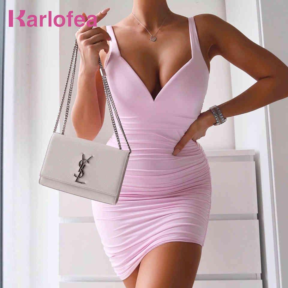 Weibliche Sommer einfache Doppelschichten Kleid sexy v-ausschnitt gepolsterte party geraffte mini dame elegant sungdress outfits 210512