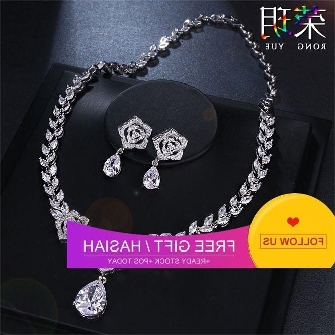 Acessórios de moda exagerada gota de água colar brinco conjunto nupcial jóia zircon conjunto de jóias cadeia