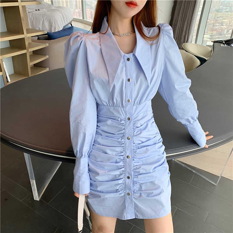 Весна элегантный слойки с длинным рукавом однобортный шикарной рубашкой платье женские отворы рушанные Bodycon мини Vestidos 210526