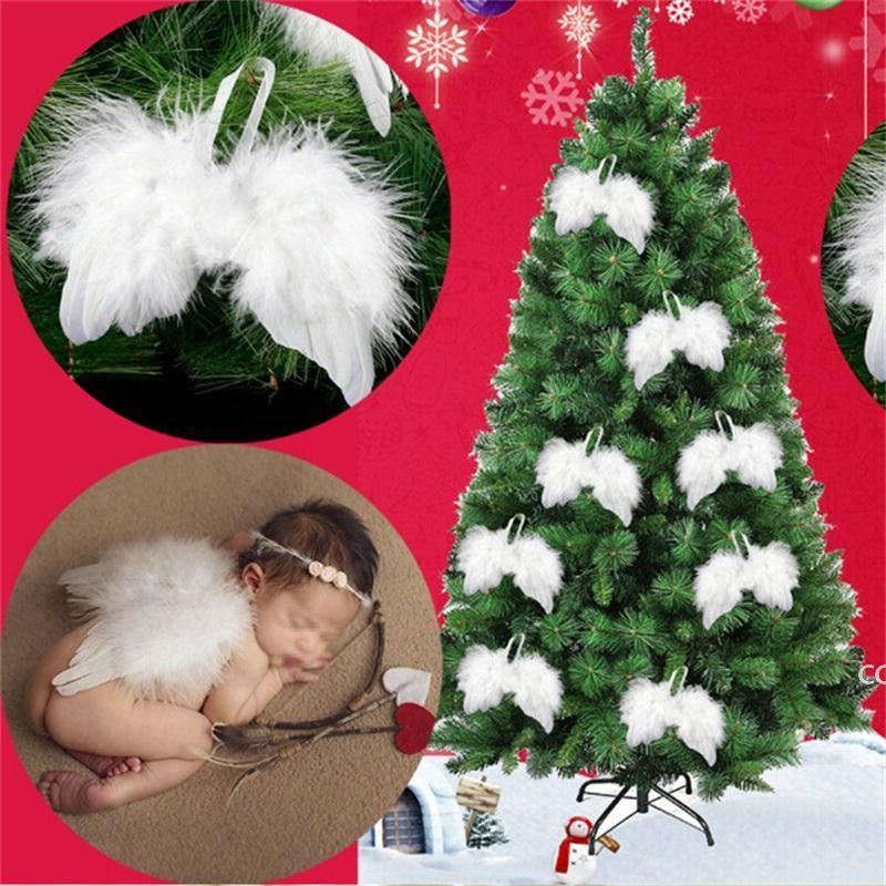 الأبيض ريشة الجناح جميل شيك أنجيل شجرة عيد الميلاد الديكور شنقا حلية المنزل حفل الزفاف الحلي عيد الميلاد DHD8771