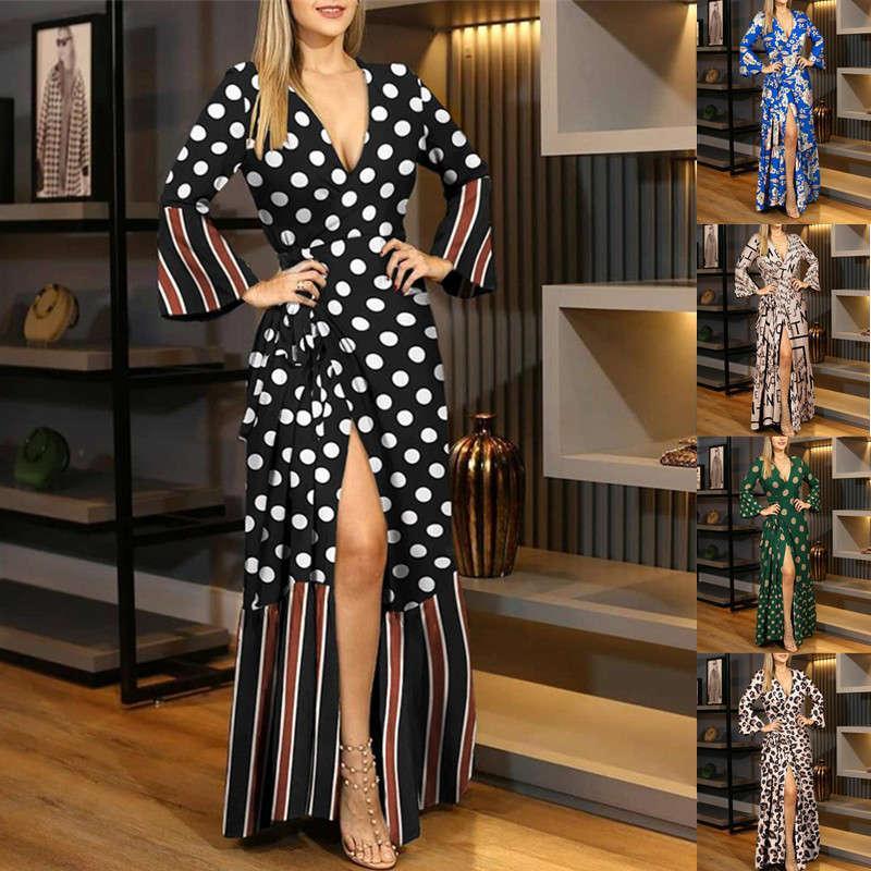 Günlük Elbiseler kadın Uzun Kollu Bandaj V Yaka Baskı Elbise Aw