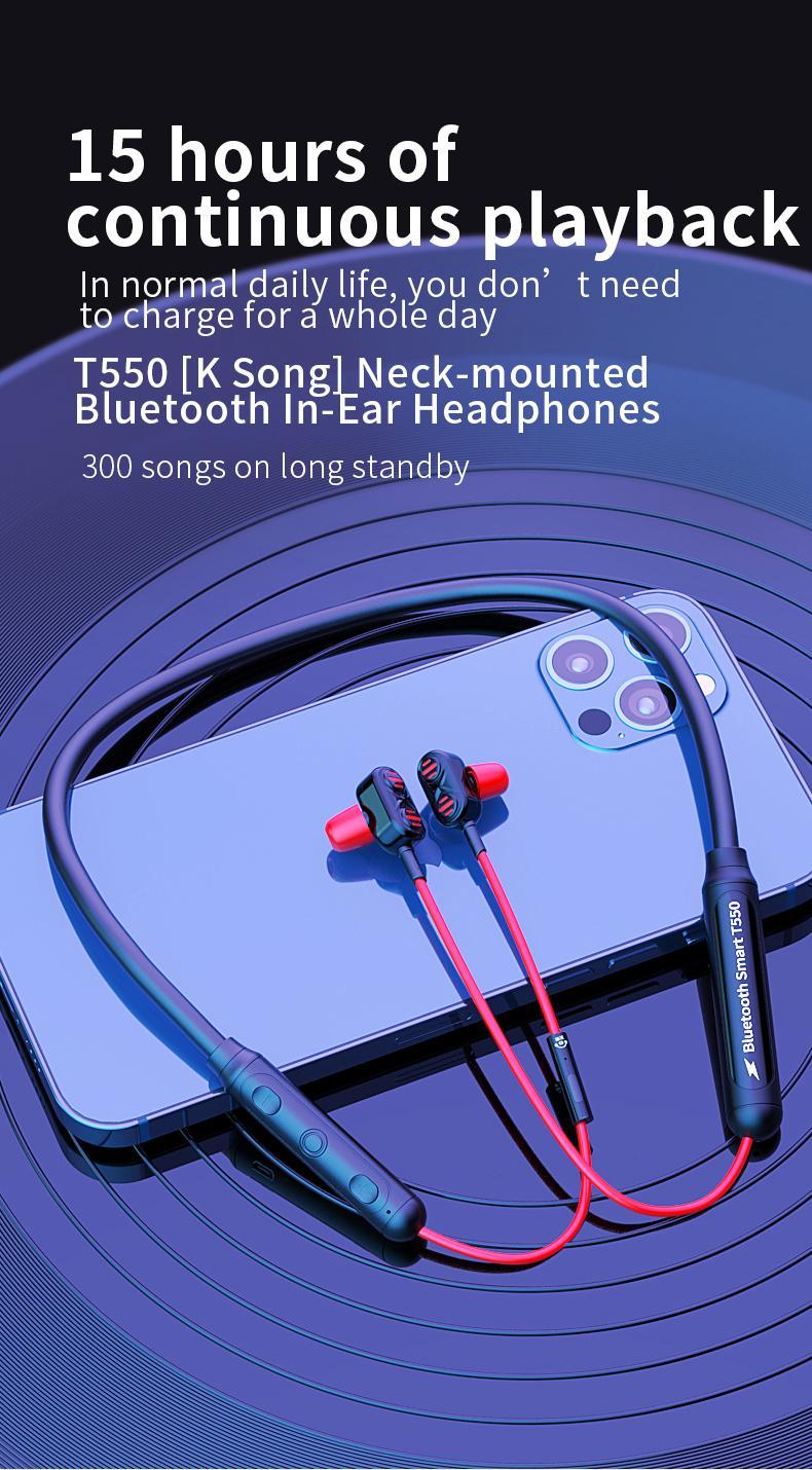 NeckBand Bluetooth V5.2 HiFi Steoro Fones de Ouvido Sem Fio Sports Música Handsfree Fones de ouvido Suporte mais tempo de espera de espera ComfortBale Wear Design