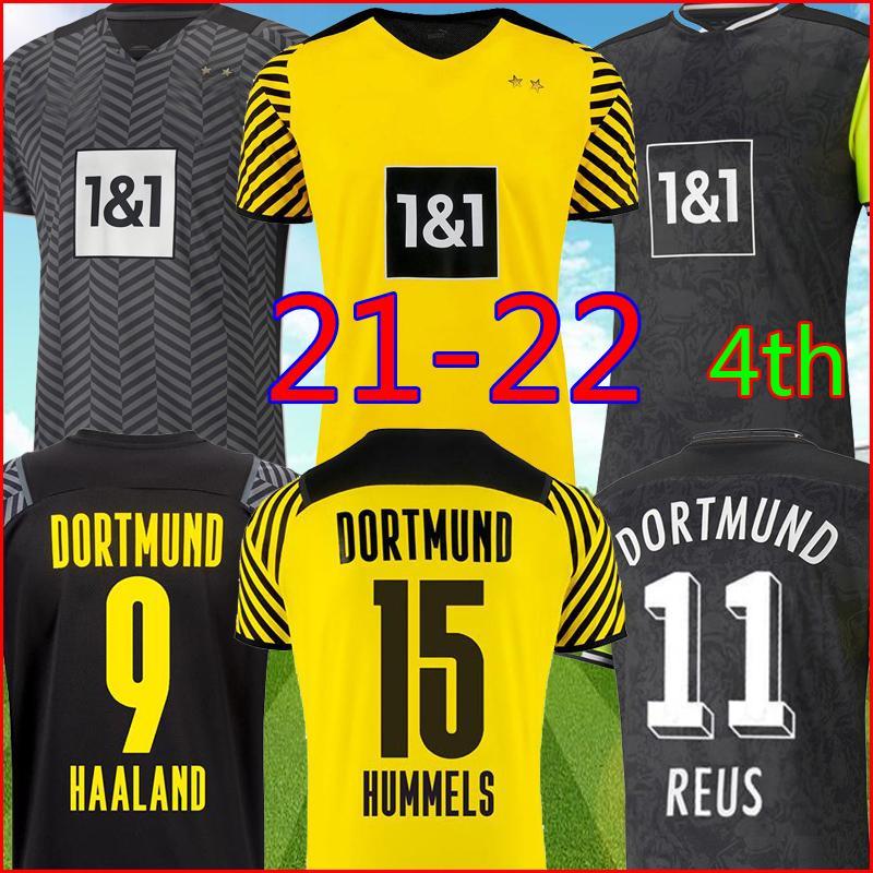 Borussia Dortmund 21 22 Reyna Away Soccer Jersey 2021 2022 أعلى كرة القدم قميص حلاند Reus Neongelb Bellingham Hummels Brandt Kits الرجال + Kids مجموعات Unifomrs الرابع