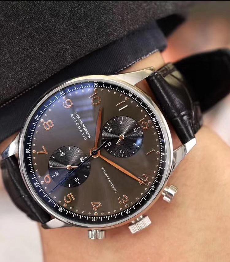 Роскошные хронограф мужские часы Португанец Сапфир Розовое Золото Серый Черный Синий Коричневый Кожаные Белые Часы Наручные часы