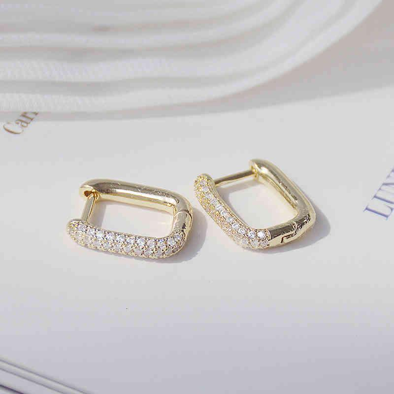 Creative Simple Design Lock Square Earring 14k Real Gold Magnificent Coppers Embedded Zircon Women Earrings Jewelry