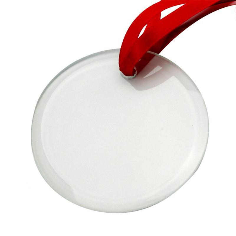 Glas Anhänger Sublimation Weihnachtsschmuck 3.5inch Einzelseite Thermische Transfer Ornament Festival Dezember Customized DIY Anhänger GWA7393