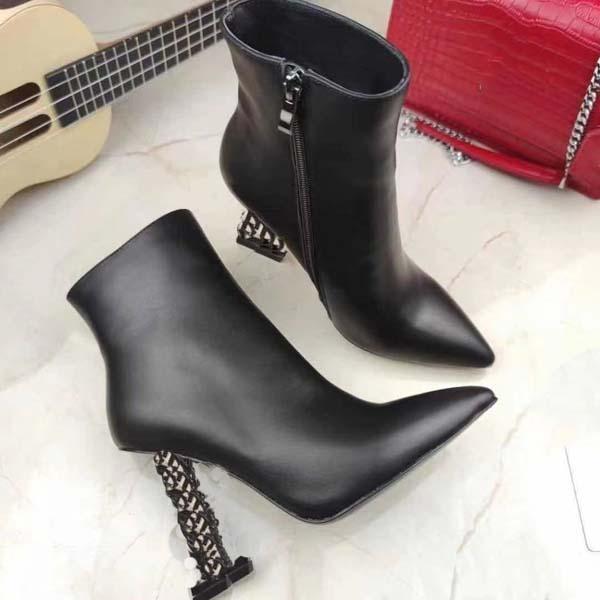 Мода женские высокие каблуки загрузки металлическая буква Mark Real кожа дизайнерская обувь осень зима короткая сапоги Martin обувь Size35-41With Box
