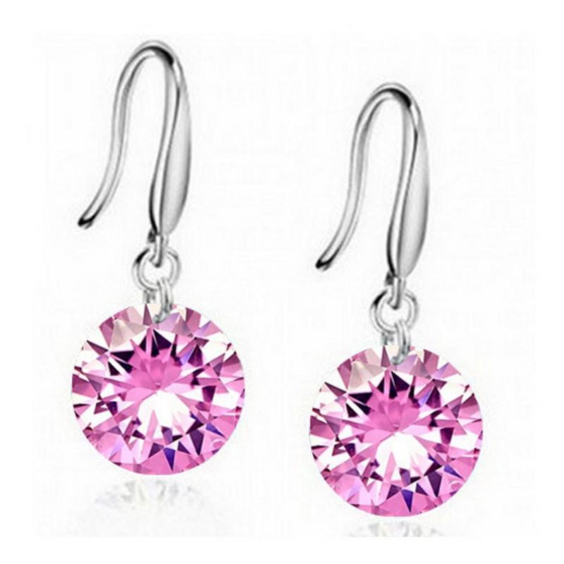 Orecchini in argento sterling Gemstone Big Long Dangle Geometric Drop Orecchini Cubici Zirconia Dichiarazione Orecchini in cristallo 32 J2
