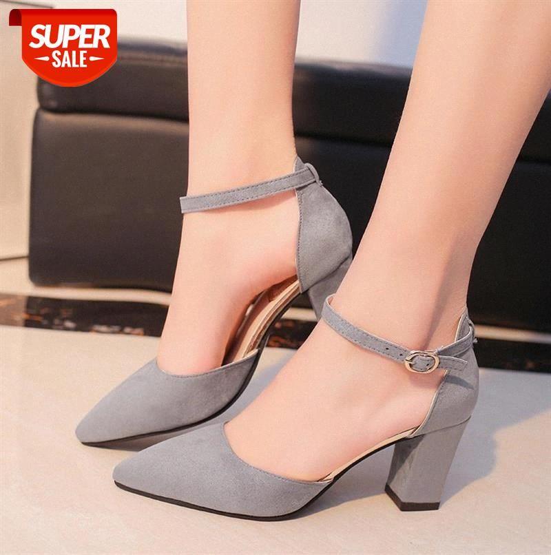 2020 Sandalias femeninas high heels Autumn Flock pointed sandals sexy Female summer shoes mujer s040 #ZT4k