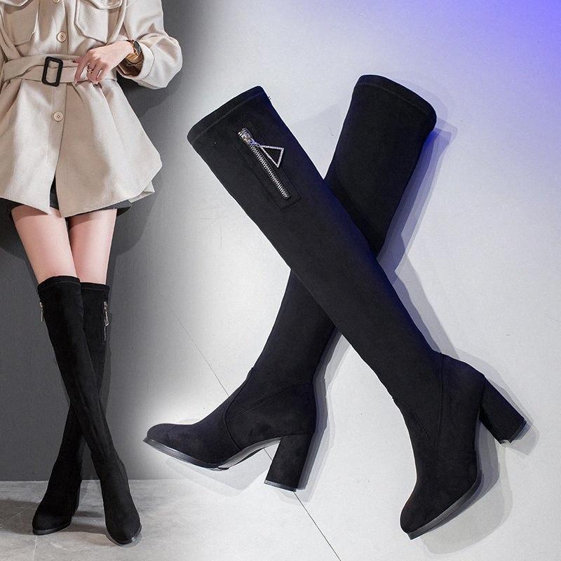 Talla grande 35 51 agradable nuevo sobre las botas de la rodilla Mujeres otoño rebaño triángulo cremallera zapatos mujer tacones altos sexy damas de moda botas de cuero damas b 643 g #