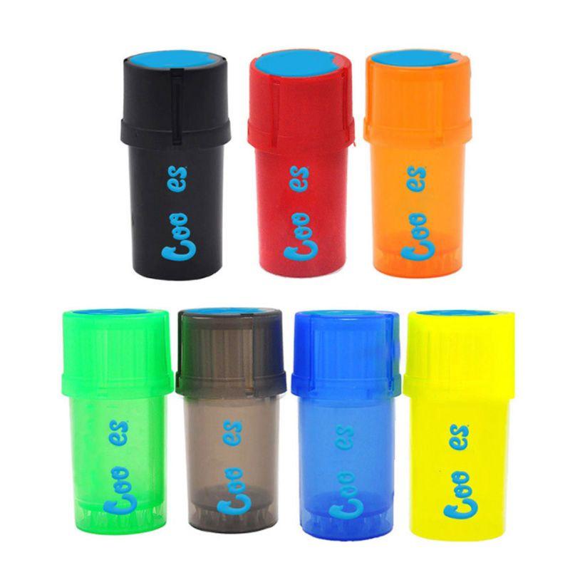 2 in 1 Plastica Grinder Bottiglia Acrilico Stile Fumatori Fumo Crusher Erbal Erbana Spice Grinding Airtainer Storage Container Case multifunzione