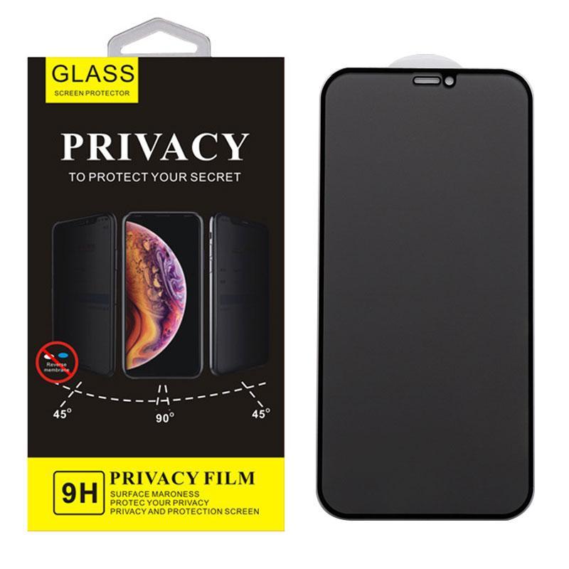 Gizlilik Anti-Casus Temperli Cam Telefon Ekran Koruyucu Için iphone 12 11 Pro Max XR XS X 8 7 Artı 9H 9D ile Arka Kurulu Perakende Paketi