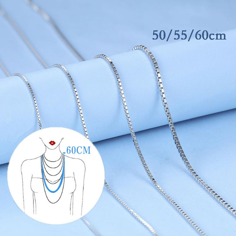 S925 Sterling Silver Long Box Chain Necklace for Women Gold Rose Gold Color Diy Jewelry Handmade Accessories 50 55 60cm