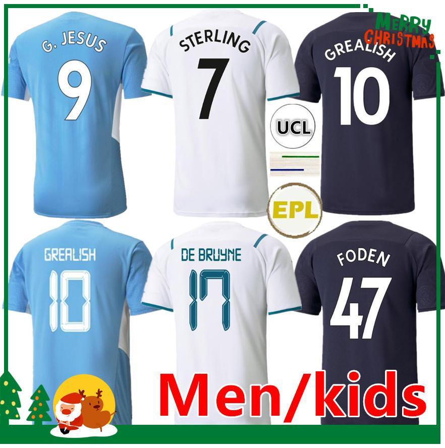 21 22 Manchester Soccer Jersey 2021 2022 Grealish G. Jesus City Sterling Ferran de Bruyne Kun Aguero Mahrez Foden Rodrigo Football Shirts Kit enfants + Hommes