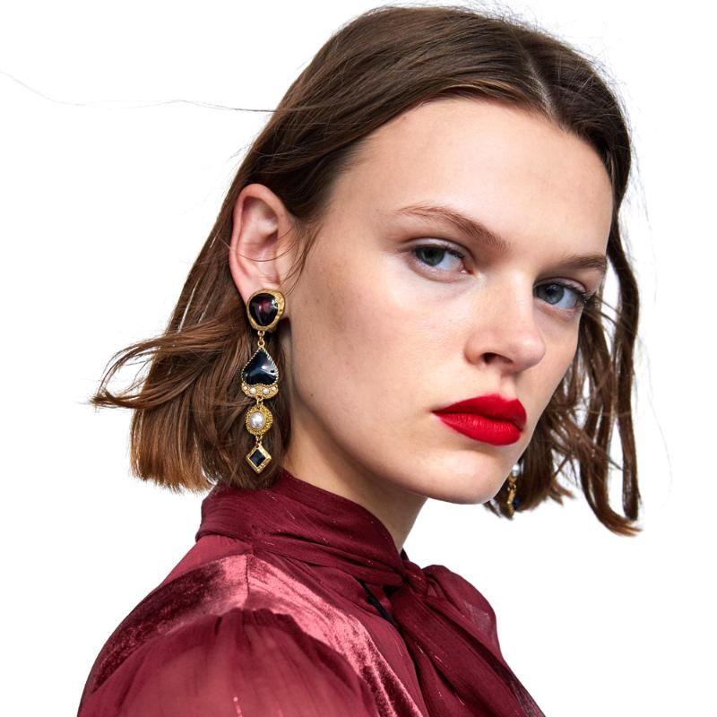 Dangle & Chandelier Vodeshanliwen Heart Enamel Long Earrings For Women Design Statement Drop Vintage Jewelry Wholesale
