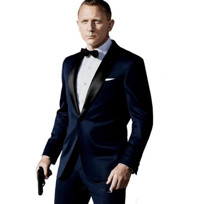 2020 New Dark Blue Groom Men Suit Tuxedos Jacket+Pant+Tie Mens Fashion Tux Tuxedos Boyfriend Blazer Bridegroom Mens Clothing