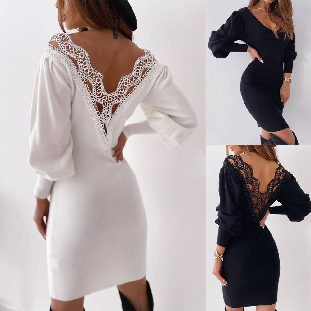 Solid Sexy Backless Lace Womens Dress Patchwork Autumn V Neck Lantern Long Sleeve Bodycon Winter Wrap Hip Femme