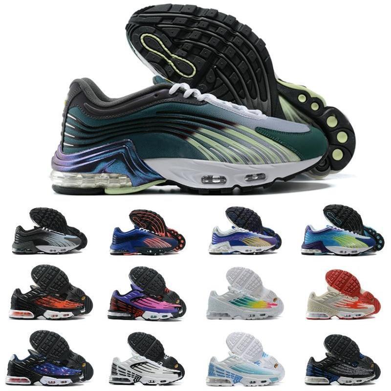 Nike Air Max TN Plus 3 Airmax 2 Tuned Mens TN Plus 2 stivali Tuned Shoes Womens Sport Sneakers Ultra Triple Black Bianco Arcobaleno Hyper Blue Supernova Brushstroke Camo 36-46