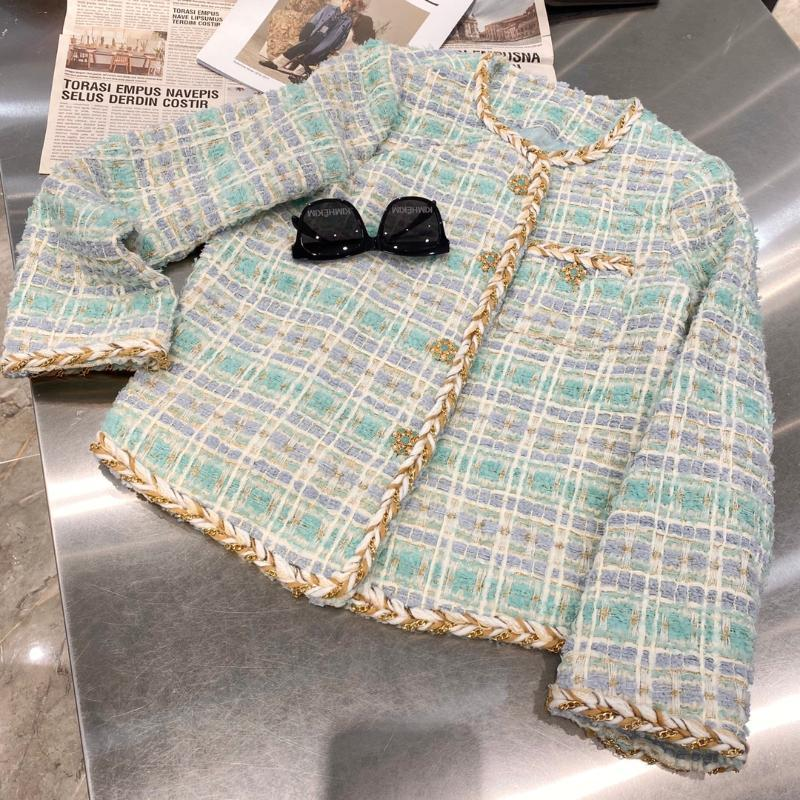 Frühling Hohe Qualität Frauen Gestreifte Tweedjacke Damen Lässige Oberbekleidung Mantel Mantel Mantel