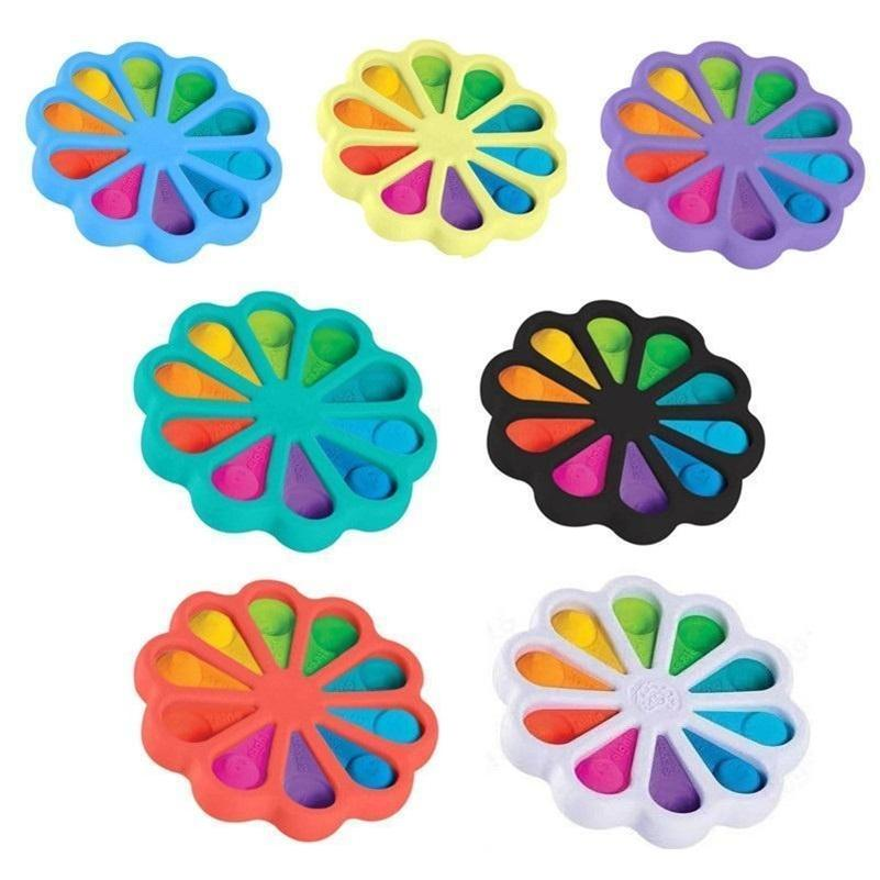 Multi Color Fidget Pop Bubble Poppers Tablero Tablero Tarjeta dedo Tizca grande 15 cm Arco iris Forma de girasol Forma Push Bubbles Pad Pedreez Puzzle Ball Simple Tiktok Juguete HH483Msy