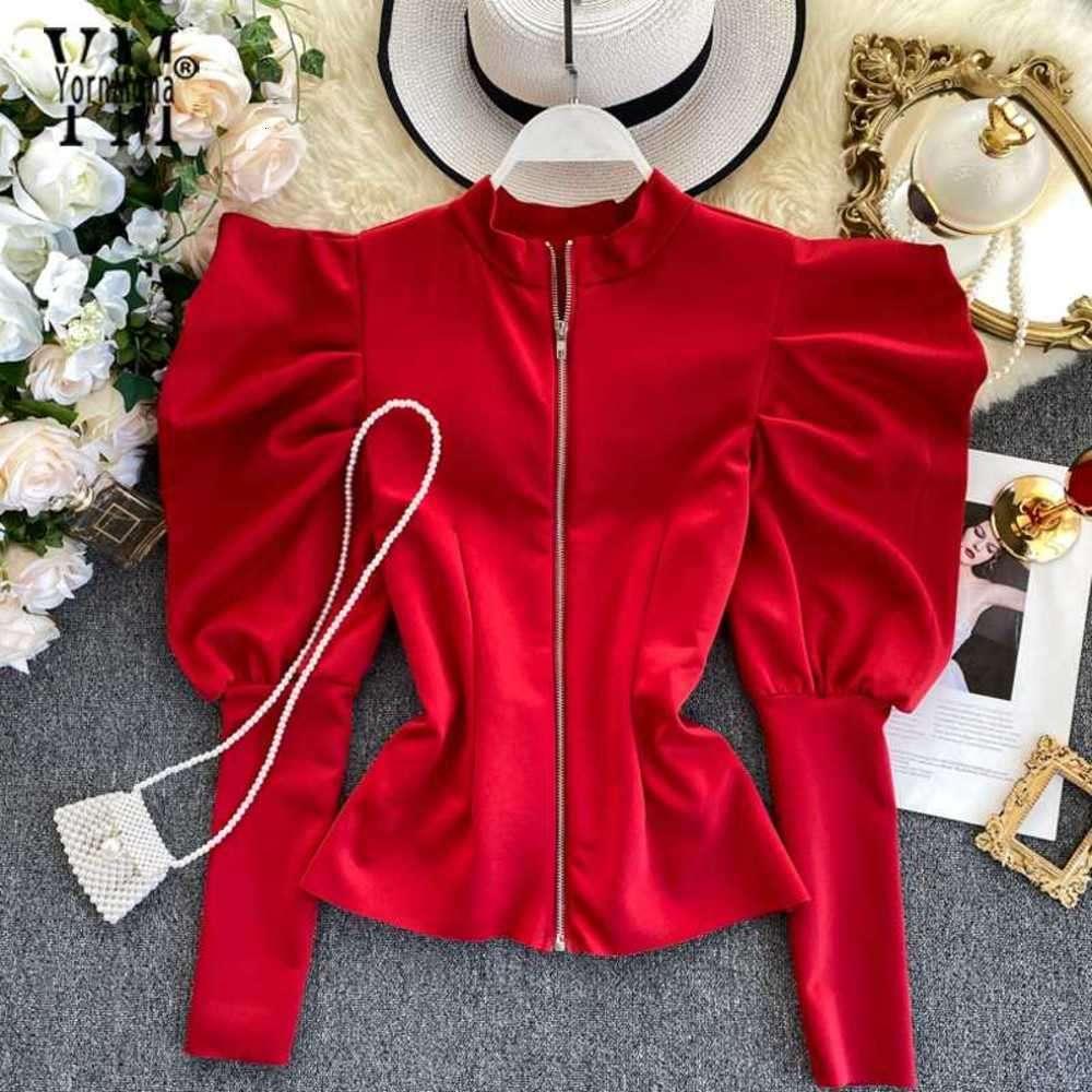 Fashion- Zipper Design Spruff Sleeve Blusa Camisa Gótica Ins Moda Primavera Outono Mulheres Vermelhas Tops Senhoras