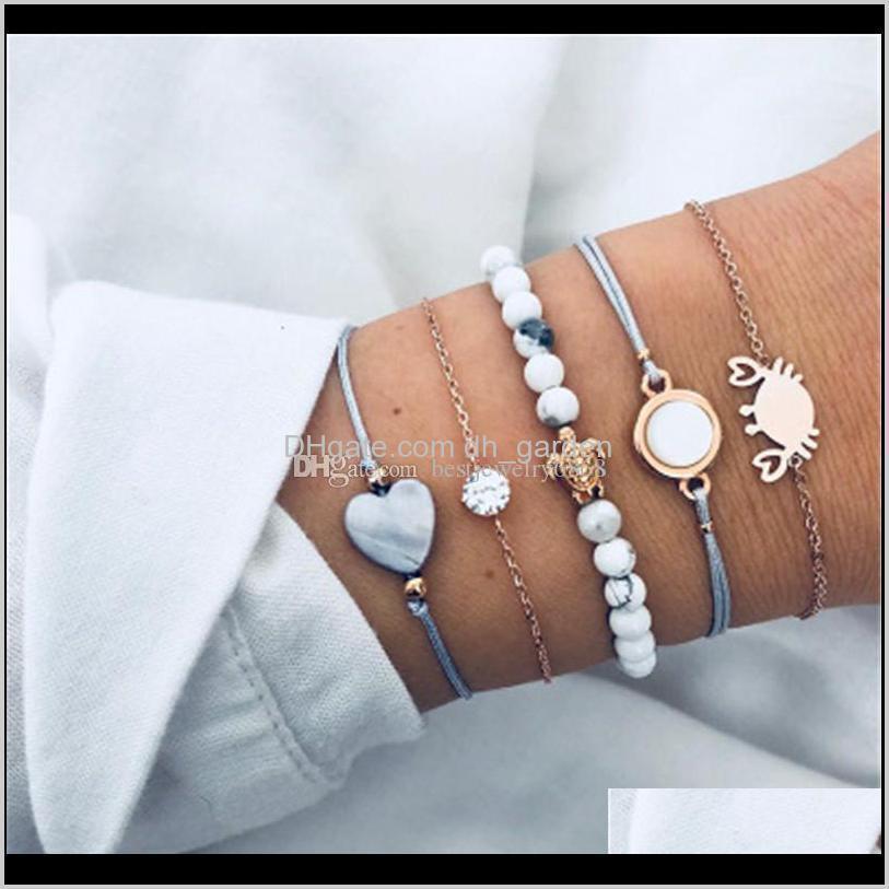 Мода Gold Link Bracelets Round Zircon Crab Черепаха Драгоценные камня Очарование Для Женщин Богемные Шемии Бисер Браслет Ae7ei Yzefa