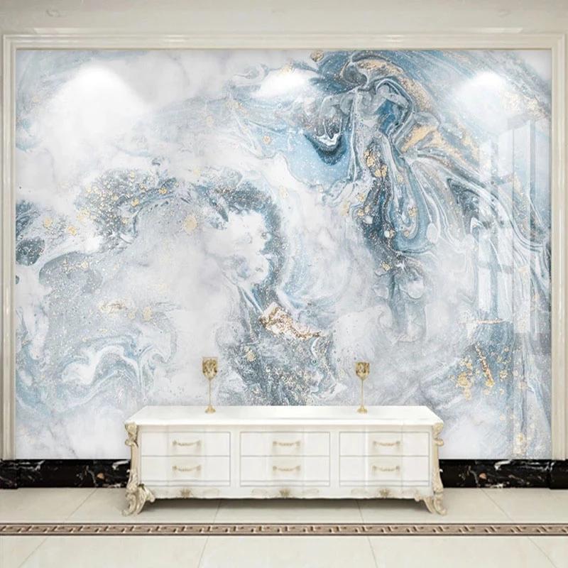 Wallpapers Modern Abstract Art Marble Wallpaper 3D Luxury Living Room TV Sofa Bedroom Blue Background Wall Decor Papel De Parede Murals