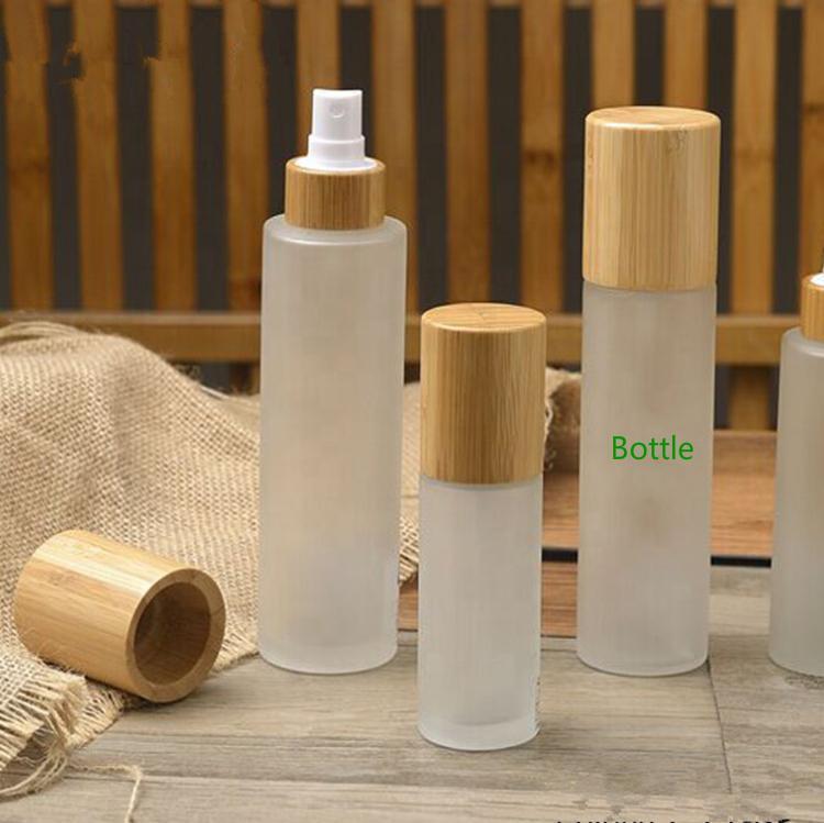 Lagerflaschen Gläser 30ml 50ml 100ml 120ml 150ml Umweltfreundliche mattierte klare Glassprühflasche mit echtem reinem vollen Bambus-Abdeckkappe, Bambus