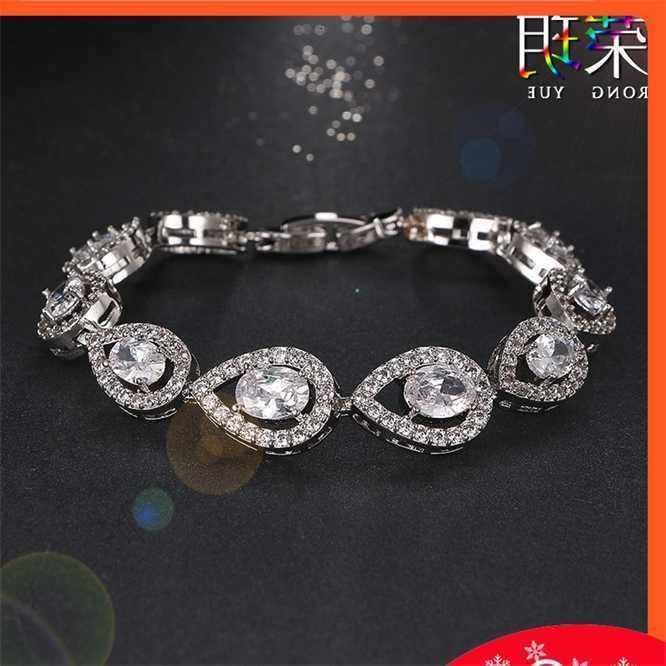 AAA Zircon clássico pulseira esmeralda 18k platina