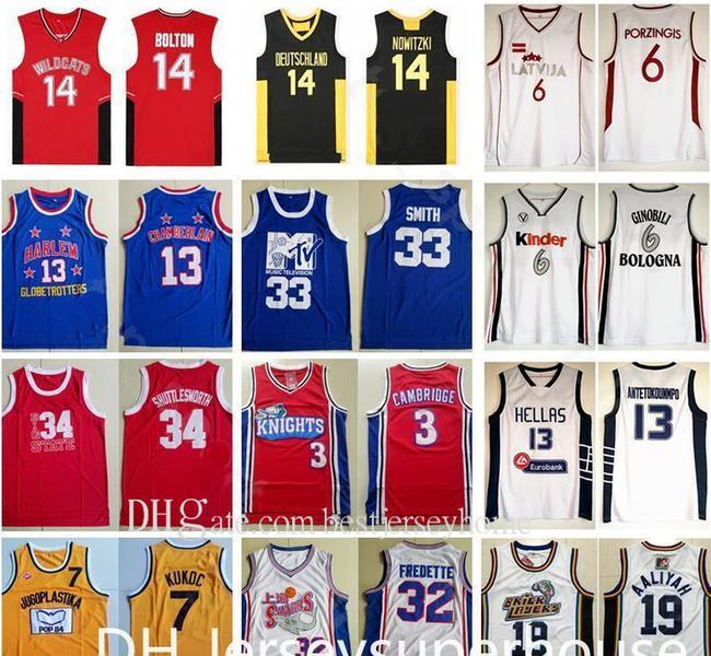 Film Deutschland 14 Dirk Nowitzki Jersey Männer Wildkatzen Highschool 14 Troy Bolton Basketball 6 Manu Ginobili Latvija 6 Kristaps Porzingis