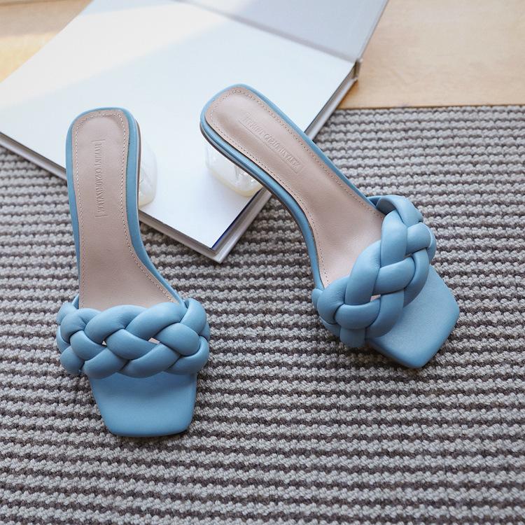 Sandalen Frauen Sommer Rutschen Hohe Qualität Webart Offene TOE Wohnung Casual Slipper Freizeit Sandale Weibliche Strand Flip Flops 210423