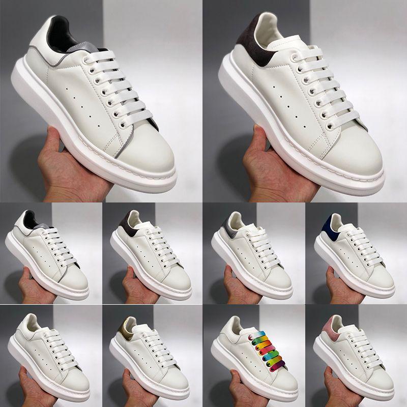 [Con caja] Alexander McQueen Sneaker All White Diseñadores hombre para mujer espadrilles planos plataforma zapatillas de zapatillas de deporte de gran tamaño espadrille