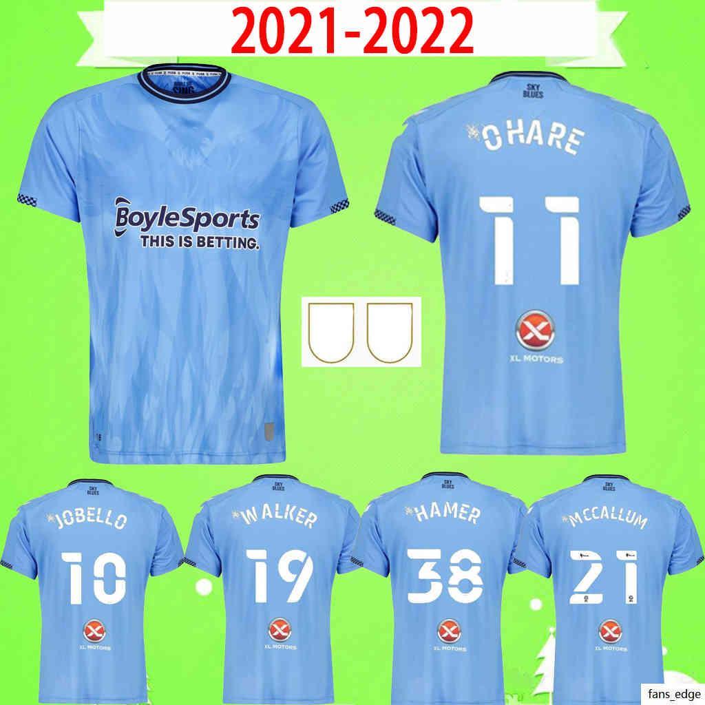 2021 2022 Coventry City Futebol Jerseys Ostigard Jobello Walker McCallum da Costa Hamer 21 22 Casa Azul Camisas de Futebol Top Quality Tamanho