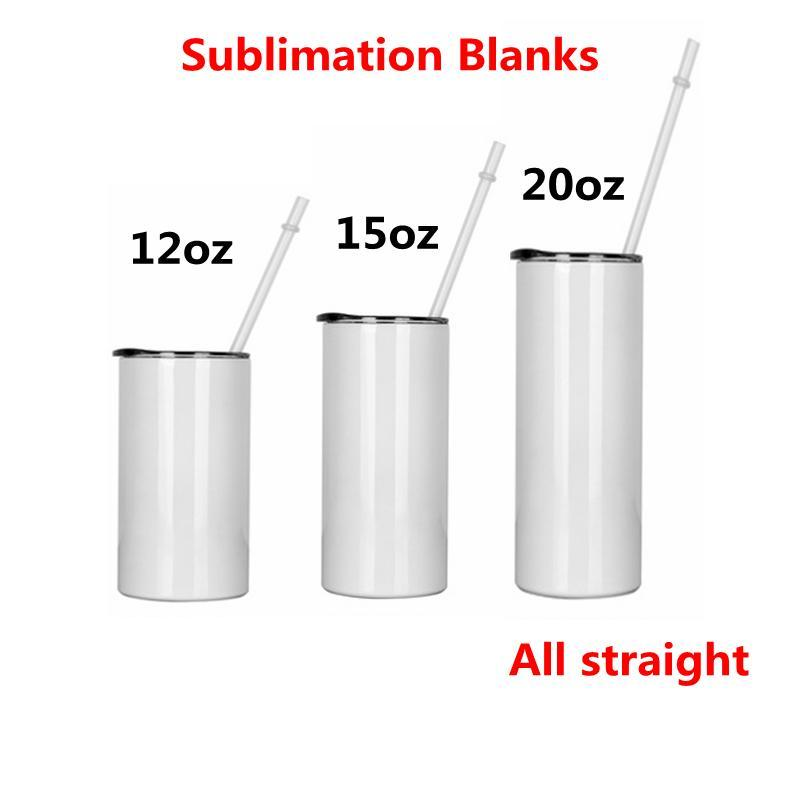 Sublimation Straight Tumblers with Lid Straw Blanks 12 15 20 oz Stainless Steel Car Cups Tumbler Travel Mugs Insulated Water Bottle
