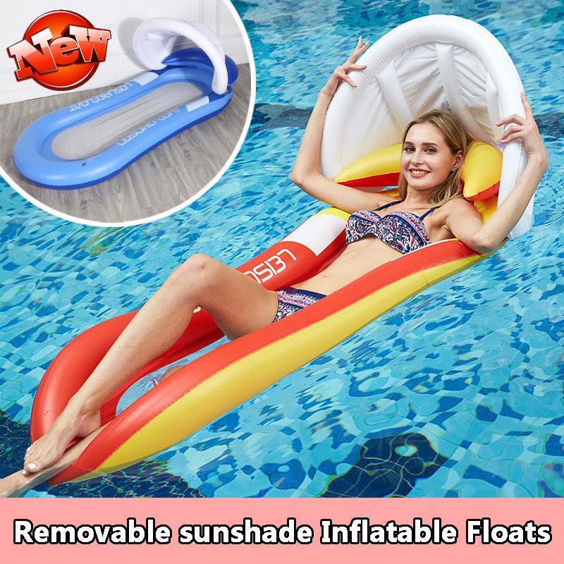 Galleggianti gonfiabili Tubi Protezione Ambiente Pieghevole Pieghevole Back Floating Row Sunshade Piscina Gody Lounger