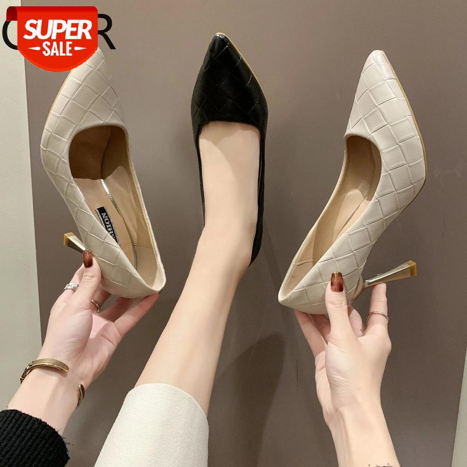 Women Summer High Heel Shoes 2021New Fashion 8cm Solid Thin Ladies Leather Business Pointed Toe Pumps Office #O36p