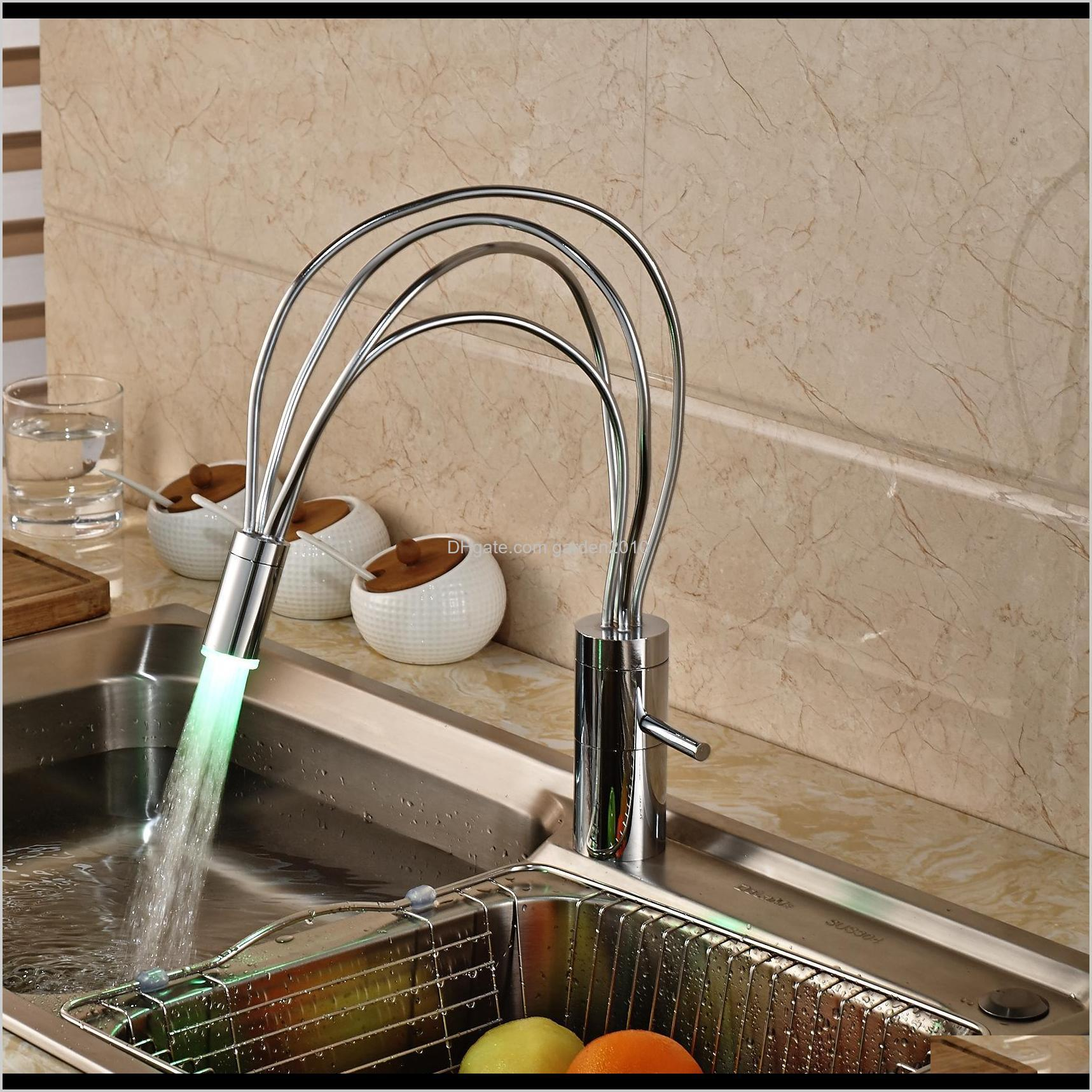 Faucets Led Color Changing Chrome Brass Kitchen Faucet Vantiy Sink Mixer Tap Single Handle Hole 2He8R Pkfal