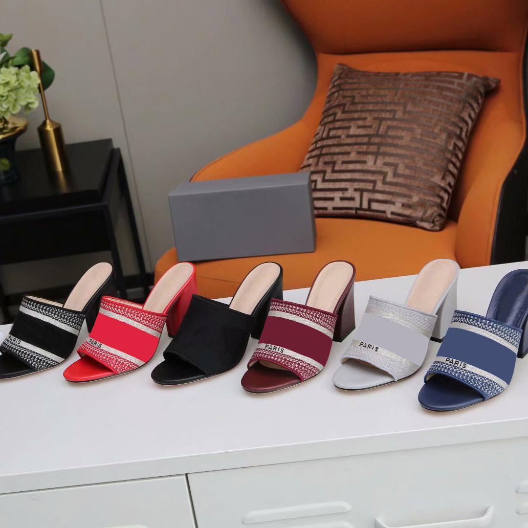 2021 Sandali Luxurys Designer Designer Shoe Brand Scarpe da estate Designer Designer Donne Donne Slip Sexy Punte Sandalo Sexy Pompe sexy con scatola Dimensione 35-43