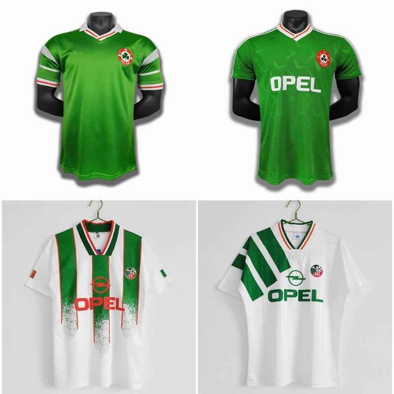 التايلاندية 1988 1990 1992 1994 أيرلندا الرجعية الفانيلة الكلاسيكية خمر لكرة القدم جيرسي المنزل الأخضر بعيدا الأبيض كرة القدم قميص كاميسا دي فيوتول