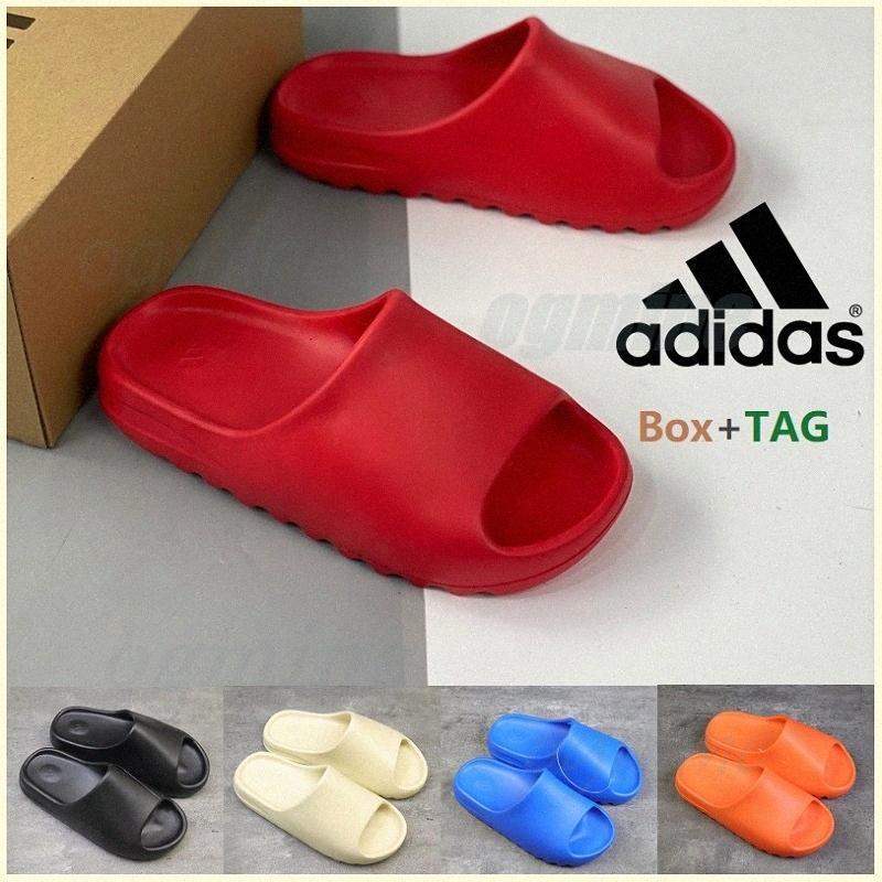 Avec la boîte à sandales Sandales Kanye Sandal Sandal Graffiti Sable Triple Noir Blanc Résine Slide Runner Sesame Street Motif Pantoufles Mens Femmes West Slider # 5sti #